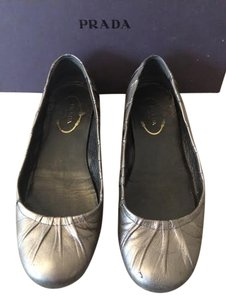 Prada Ballet Pewter Metallic Grey Flats