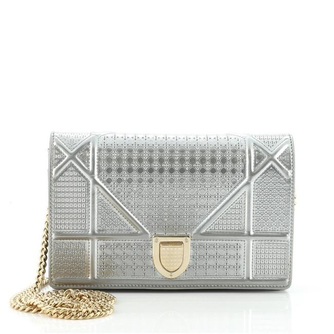 Item - Flap ama Cannage Embossed Calfskin Mini Silver Leather Cross Body Bag