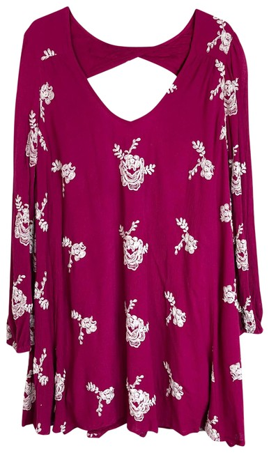 Item - Pink White Womens Emma Embroidered Swing Mini Small Short Cocktail Dress Size 4 (S)