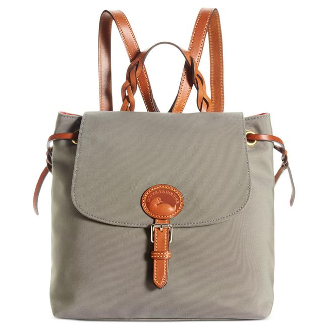 Item - Nylon Flap Tan Brown Leather and Canvas Backpack