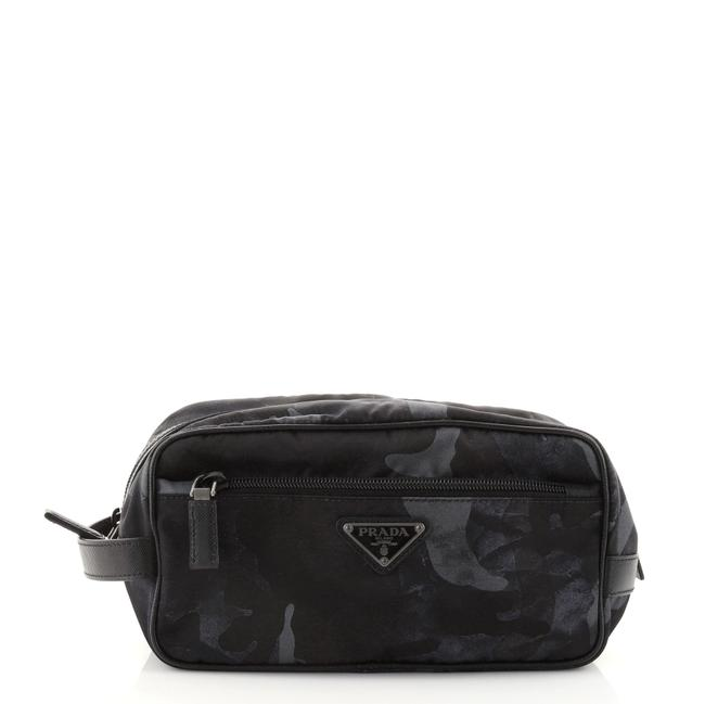 Item - Black Green Print Toiletry Pouch Camouflage Tessuto Small Cosmetic Bag