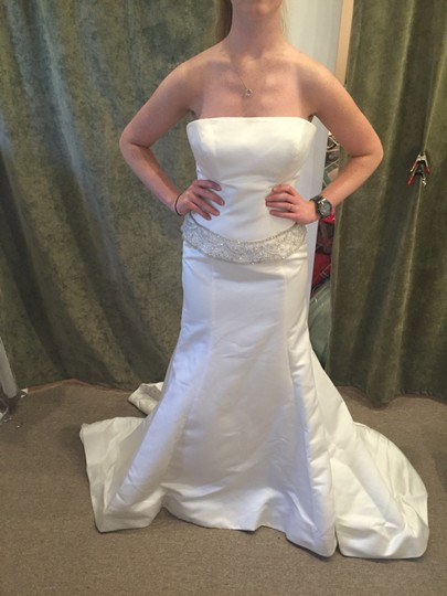 Allure Bridals Ivory/Cafe/Silver P645 Modern Wedding Dress Size 12 (L)
