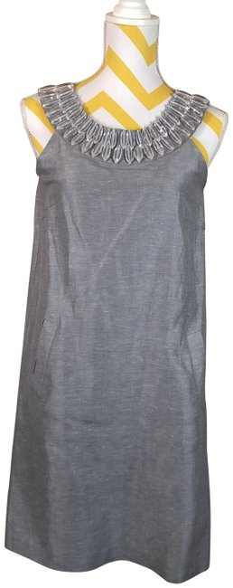 Item - Gray Silk/Linen with Pockets Mid-length Short Casual Dress Size 6 (S)
