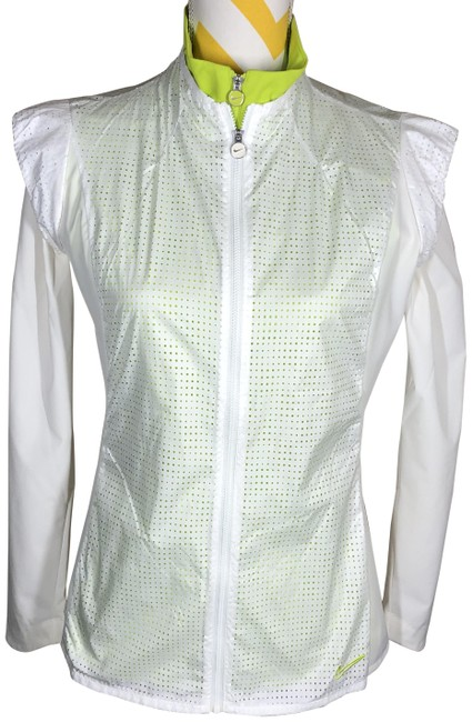 Item - White/Green W Full-zip W/Attached Vest Activewear Outerwear Size 4 (S)