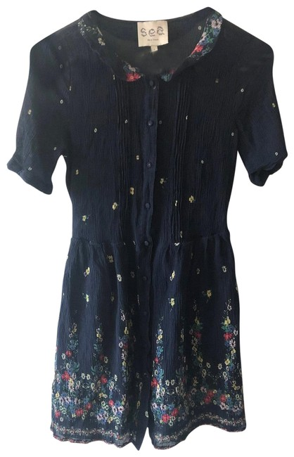 Item - Blue Yellow Red New York Navy Floral Ruffle A-line Mini Short Casual Dress Size 4 (S)