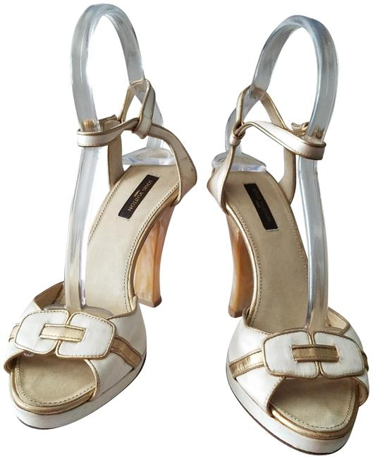 Item - Tan/ Off-white Gold Italy Heels Ankle-strap Platforms Size EU 37 (Approx. US 7) Regular (M, B)