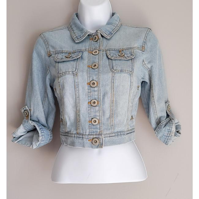 Item - Blue Cropped Button Up Small Jacket Size 4 (S)