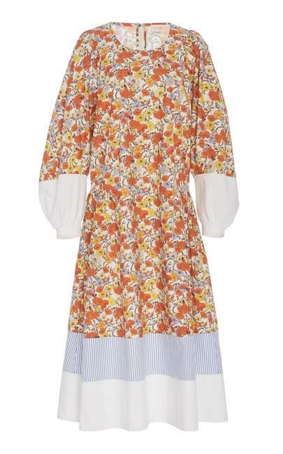 Item - Multicolor Printed Cotton In Floral 57501 Mid-length Short Casual Dress Size 12 (L)