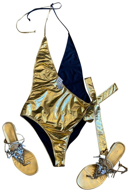 Item - Gold and Black Swimsuit One-piece Bathing Suit Size 8 (M)