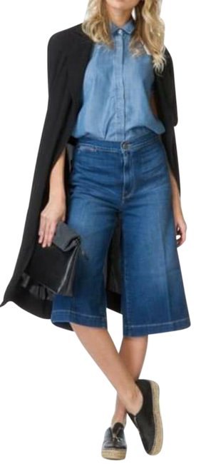 Item - Blue Light Wash Culotte Flared Cropped Tailored Trouser/Wide Leg Jeans Size 26 (2, XS)