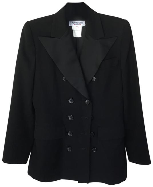 Item - Black Double Breasted Wool Blazer Size 4 (S)