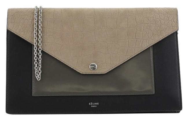 Item - Wallet on Chain Pocket Envelope Crocodile Embossed Multicolor Leather and Nubuck Cross Body Bag