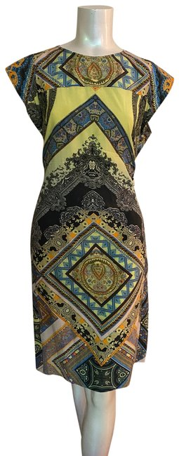 Item - Multicolor Classic Silk and Cotton Printed Mid-length Short Casual Dress Size 8 (M)