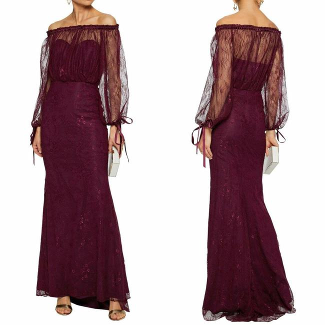 Item - Purple Burgundy Wine Off-the-shoulder Lace Overlay Lace Gown Long Formal Dress Size 4 (S)