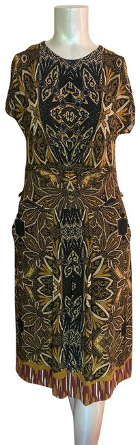 Item - Exotic Multiprint Short-sleeve Mid-length Short Casual Dress Size 10 (M)