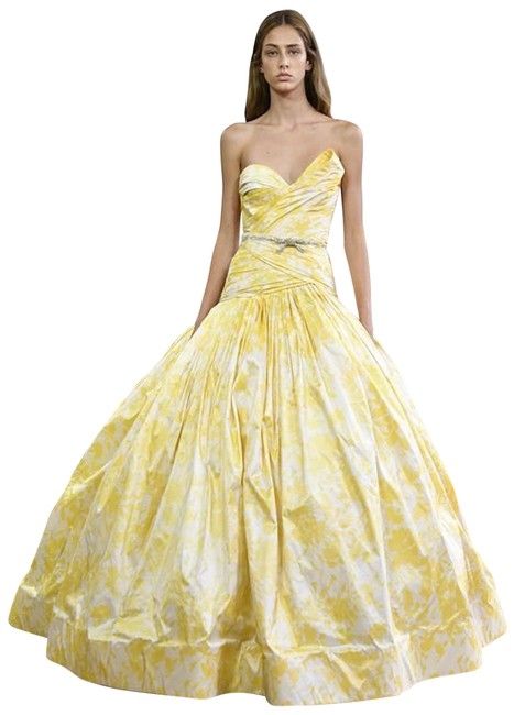 Item - Gold/Yellow and White Paris Collection Long Formal Dress Size 8 (M)