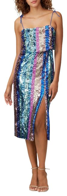 Item - Blue New Square Neckline Pink Multi Allover Sequin Rainbow Striped Mid-length Night Out Dress Size 0 (XS)