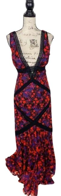 Item - Blue Red Lace Overlay Deep V-neck Mermaid Long Formal Dress Size 2 (XS)