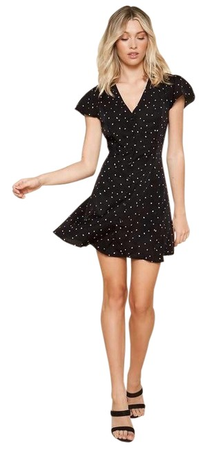 Item - Black White Heart Sleeved Button Front Mini Short Casual Dress Size 8 (M)