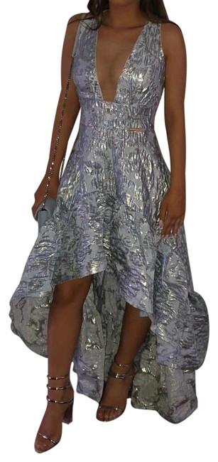 Item - Blue Fiona Brocade Sheer Mesh Maxi Gown Cocktail Dress Size 8 (M)