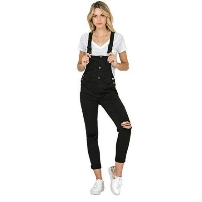 Item - Black Dark Rinse Stretchy Distressed Style Overalls. Skinny Jeans Size 34 (12, L)