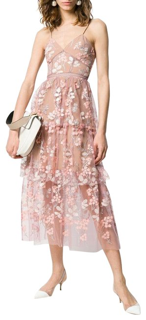 Item - Pink Floral Lace Mid-length Cocktail Dress Size 6 (S)