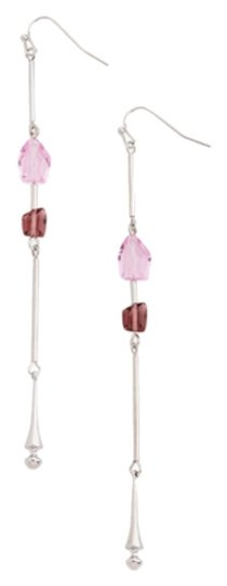 JEWELMINT Jewelmint Gemma Divine Silver Pink Glass Beads Dangle Drop Earrings