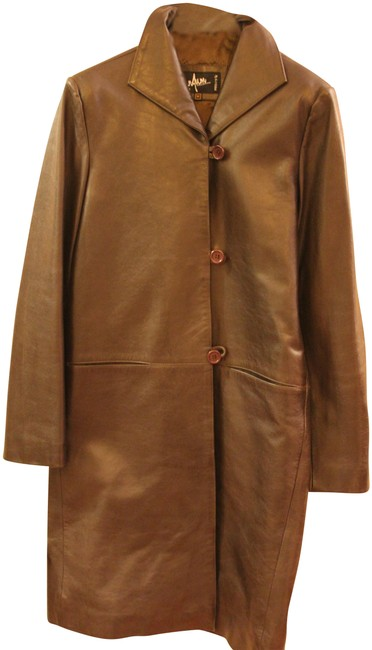 Preload https://img-static.tradesy.com/item/29402/olivebrown-cool-looking-leather-coat-size-8-m-0-2-650-650.jpg
