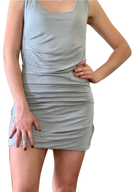 Item - Gray Ruched Soft Everyday Short Casual Dress Size 4 (S)