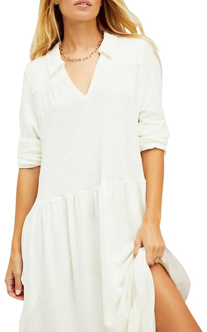 Item - Cream Beach Moonlight Tiered Collar Ivory Cotton Med Long Casual Maxi Dress Size 10 (M)