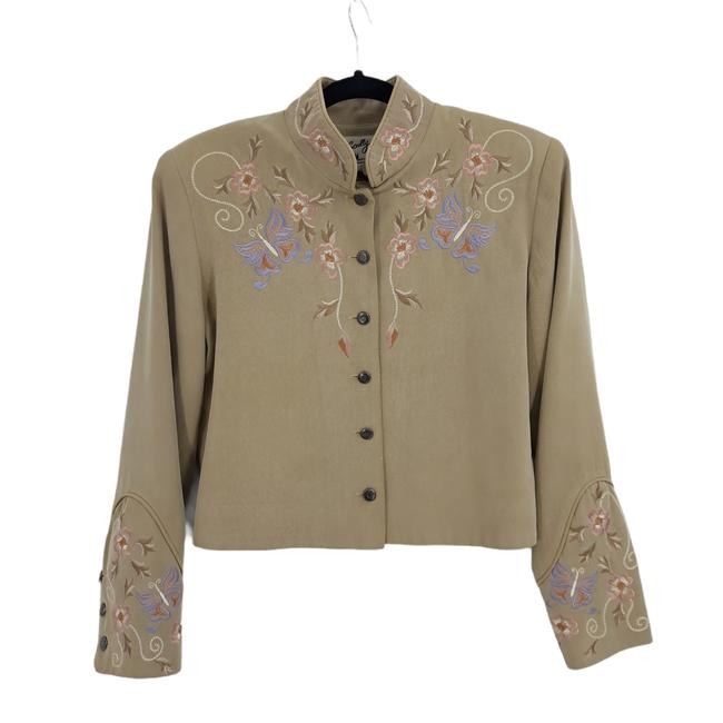 Item - Tan Vtg Western Embroidered Butterfly Floral Blazer Size 8 (M)