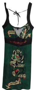 Ed Hardy short dress Green With Different Colored Designs on Tradesy