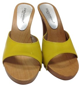 Dolce&Gabbana Wood Chic Stylish Yellow Wedges