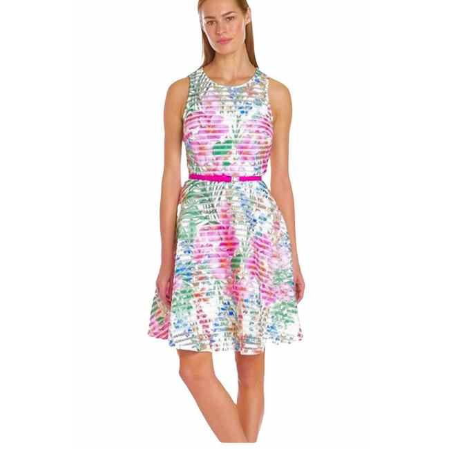 Item - Off White / Multi Scuba Mesh Fit & Flare Mid-length Night Out Dress Size 18 (XL, Plus 0x)