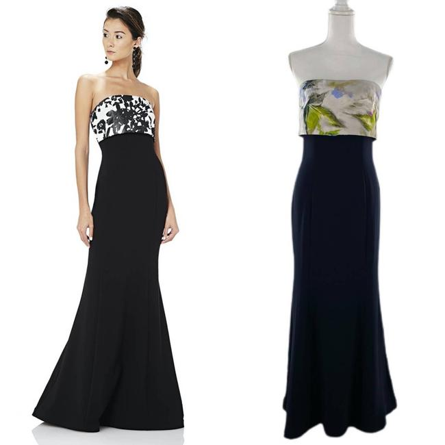 Item - Blue Popover Strapless Stretch Crepe Mermaid Navy Long Cocktail Dress Size 6 (S)