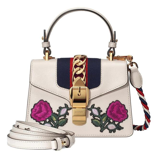 Item - Sylvie Mini Top Handle Flowers Embroidery Off White Leather Shoulder Bag