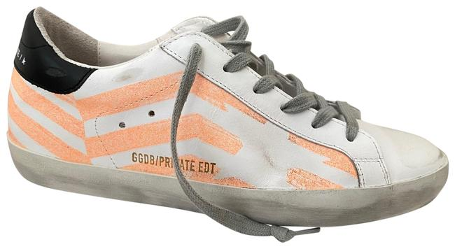 Item - White Orange Gold Superstar Low Top Lace Up Leather Sneakers Size EU 38 (Approx. US 8) Regular (M, B)