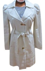 Leifsdottir Linen Trench Goldtone Hardware Pleated Trim Belt Buckle Trench Coat
