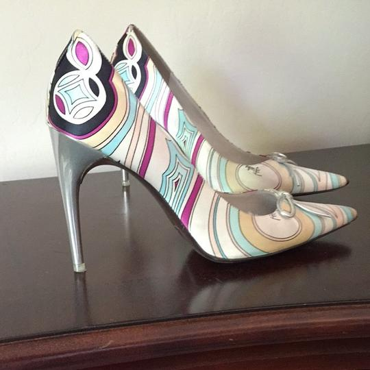 Emilio Pucci Multi Color With Silver Heels Pumps