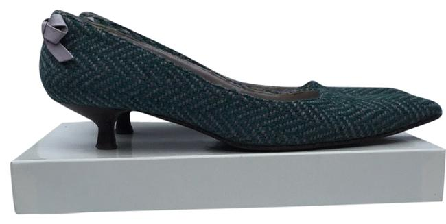 Turquoise/Purple An0402 Tessuto Verde Lila / Back Bow Kitten Heel Pumps Size US 9 Regular (M, B) Turquoise/Purple An0402 Tessuto Verde Lila / Back Bow Kitten Heel Pumps Size US 9 Regular (M, B) Image 1