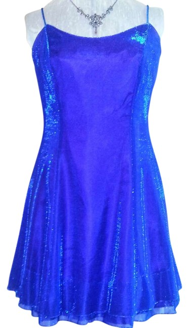 Item - Iridescent Blue/Purple Party Evening Prom Holiday Christmas New Year's Eve Knee Length Night Out Dress Size 10 (M)