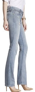 Express Distressed Boot Cut Jeans-Distressed