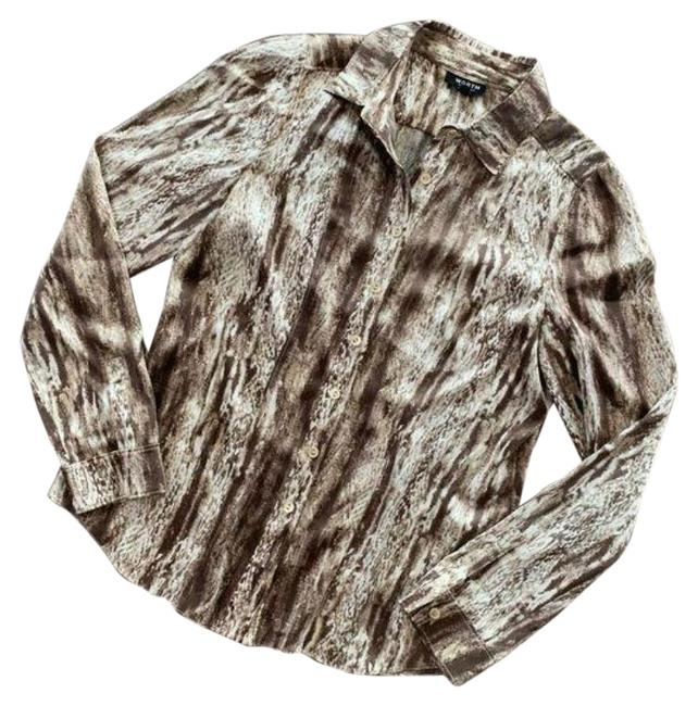 Item - Brown Cream Button-down Top Size 4 (S)