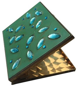 Vintage Green & Gold Cigarette Case with Stones