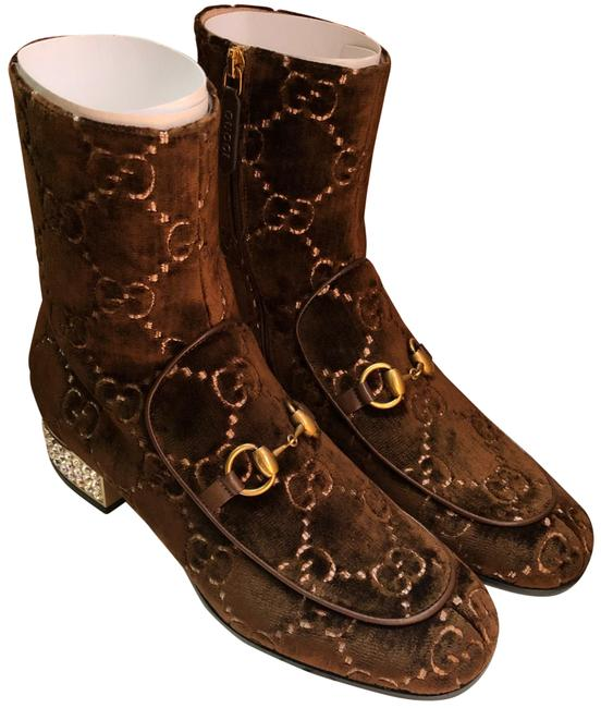 Item - Brown Velvet Crystal Ankle Boots/Booties Size EU 38 (Approx. US 8) Regular (M, B)
