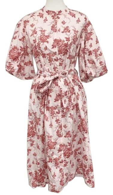 Item - Red Pink Puff Sleeves Poplin Floral Mid-length Cocktail Dress Size 8 (M)