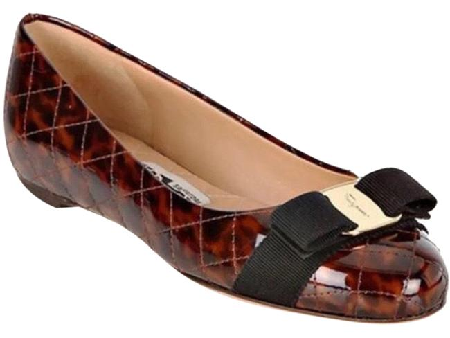 Item - Brown Nwot Tortoise Patent Quilted Varina Bow Slip On Glossy Flats Size US 6.5 Regular (M, B)