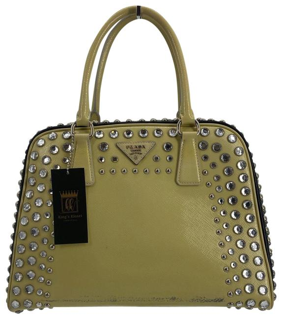 Item - Pyramid Bedazzled Yellow Silver Satchel