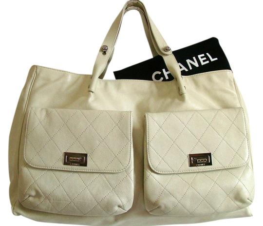 Chanel Caviar Mademoiselle White Silver Shoulder Bag
