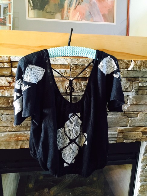 Free People Ponce De Leon Butterfly Sleeve M Black Top